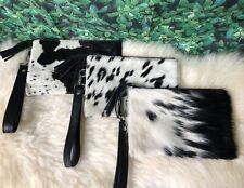 "Real Cowhide Leather Wristlet Clutch Purse Handbag Wallet Black 8.5"" x 5.5"" Gift"