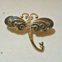 gold tone small dragonfly brooch with olive colour enamel wings stamped R