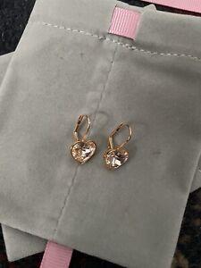swarovski Bella Rose Gold Heart Earings