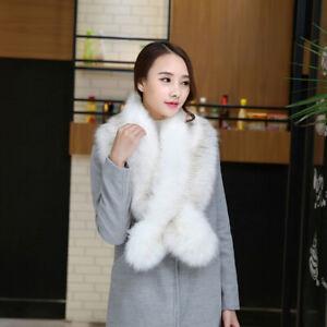 Women White Faux Fur Collar Scarf Shawl Wrap Stole Warmer Shrug For Winter