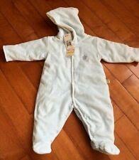 Noa Lily 6 months Baby Boy Warm Blue Striped Footie Romper Thick w. hoodie