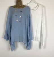 NEW Italian Tunic Top Crinkle Blue White Lagenlook Womens UK Size 16 18 20 22 24