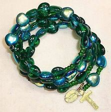 Rosary bracelet, AB green glass heart beads B5