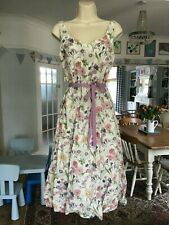 BNWOT Size 10 LAURA ASHLEY White Lilac Botanical Floral Linen Fit & Flare Dress~