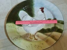 """LRG SAKURA """"ON THE FARM"""" ROOSTER, ROUND SERVING PLATE 16"""" By DAVID CARTER BROWN"""