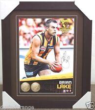BRIAN LAKE SIGNED HAWTHORN AFL 2014 PREMIERS PRINT FRAMED - 2014 AFL PREMIERS