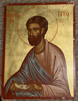 """Apostle Saint Titus ~ Greek Orthodox Wooden Icon 9 x12"""" (Hand-Painted & Signed)"""