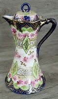 Vintage Hand Painted Chocolate/Coffee Pot, Green Cobalt Blue Pink Roses Gold