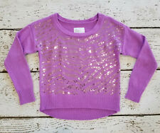 Justice Girls Purple Glitter Sequin Crew Neck Cropped Sweater 10 Euc