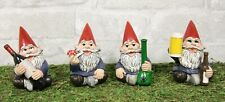 Happy Times Drunk And High Gnome Figurines Collectible Set of 4 Whimsical Gnomes