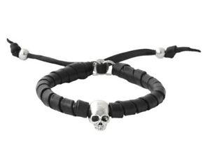 King Baby Studio Thin Natural Wrap Leather Bracelet w/Hamlet Skull  K42-8236