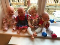 VINTAGE LARGE BABY DOLLS IN NEED OF TLC ALL CLOTHED INC ZAPF CREATIONS