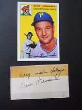 Gene Hermanski Autograph on a piece of an index card - with Baseball card - OF