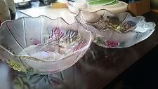 2 Japanese multi coloured glass bowls stunning rose flowers