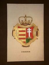 Stemma Ungheria - Magyarország Cromolitografia del 1857 Araldica