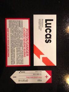 JAGUAR XKE E-TYPE SIIE42 MG TRIUMPH LUCAS LOTUS MORGAN BATTERY 3 PIECE DECAL SET