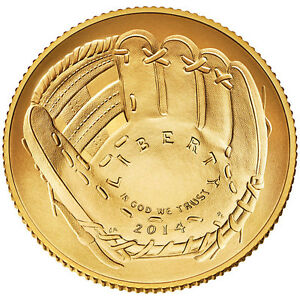2014 NATIONAL BASEBALL UNCIRCULATED HALL OF FAME $5 GOLD DOLLAR W/BOX IN HAND