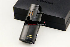 COHIBA BLACK 3 JET FLAME CIGAR CIGARETTE LIGHTER WITH BUILT-IN PUNCH CUTTER