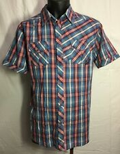 QUICKSILVER Men's Shirt size L Red Blue Checked 100% Cotton Short Sleeve