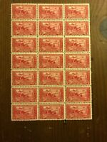 US Stamps Scott #618 Mint OG Sheet Block of 21 - Just 4 H