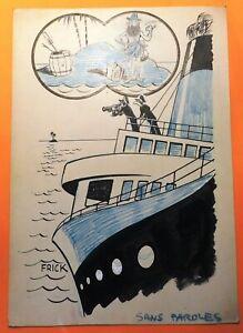 FRICK. Dessin humoristique. Robinson sur île déserte et bateau. (RC60)