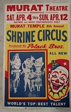 Murat Shrine Circus Clown Rare Show Poster-Collection/Gift