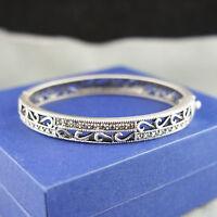 Ancient Silver antique style vintage bangle bracelet with Swarovski crystals