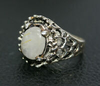 Sterling Silver 925 Women's 5.05 CT Genuine Moonstone Ladies Filigree Ring Sz 6