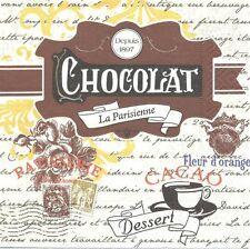Lot de 2 Serviettes en papier Chocolat La Parisienne Decoupage Collage Decopatch