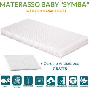 Materasso per Bambini 60x120 H 12cm Lettino o Culla + Cuscino ANTISOFFOCO GRATIS