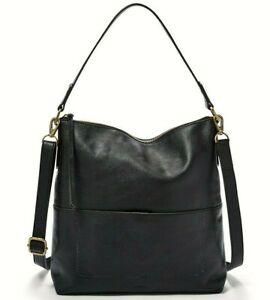 Fossil Amelia Hobo Crossbody Shoulder Bag Black Leather SHB1819001 NWT $238 FS