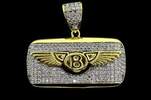 14K Yellow Gold Plated Hip Hop CZ Iced Bling B Wing Key Pendant w/ Chain
