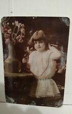 Antique Victorian girl w/ candlestick phone telephone original photo photograph
