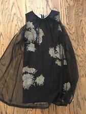 Dries Van Noten Dress size 38 Floral with Sheer black Drape