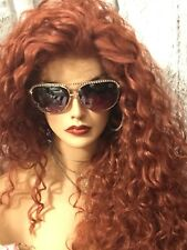 "WOW!! COPPER RED! 32"" LONG, CURLY BIG HAIR! ,Multi Style, Lace Front Wig!"