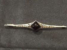 Antique  Art Deco French Sterling Silver Onyx and Marcasite Brooch