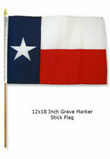 """12x18 12""""x18""""  State of Texas Lone Star Grave Marker Stick Flag"""
