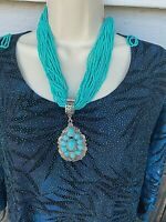 Western Blue  Turquoise Pendant Multi Strand Necklace Earrings Rodeo seed bead