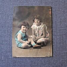 ANTIQUE 1920'S TWO GIRLS COLORED CABINET PHOTO