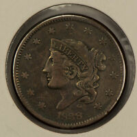 1838 1c Coronet Head Large Cent - Mid-Grade VF+Coin - SKU-Y2583