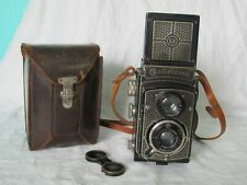 Antique Art-Deco Nickel-plated Rolleicord TLR Triotar 75mm f4.5 lens w/ Case