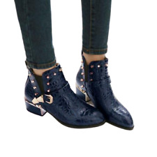 Women's Rivet Studs Pointed Toe Buckle Casual Pull On Punk Shoes Ankle Boots 6