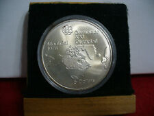 1976   MONTREAL  OLYMPICS SILVER 5$ COIN   CANADA  MAP OF N.A.   B.U.  STERLING