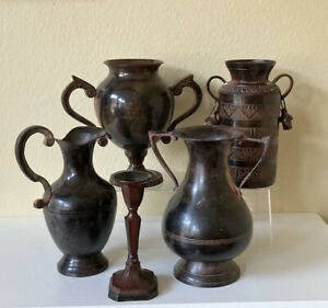 """BROWN METAL VASES & CANDLE HOLDER Lot of 5 Pieces Urn Pitcher 7"""" Tall Home Decor"""
