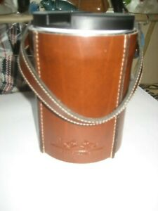 A RARE OLD VINTAGE ICE BUCKET OFF THE GERMAN SHIP HANSA LINE CASED IN  LEATHER