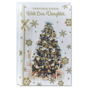 DAUGHTER CHRISTMAS CARD ~ EXTRA LARGE 8 PAGE VERSE ~ QUALITY CARD TREE DESIGN