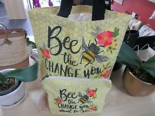 100% Cotton Reusable Shopper Tote Bag With Matching Pouch