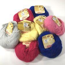 Vtg Katia Angoretta Knitting Yarn Faux Angora Acrylic Assorted Colors Bag of 8