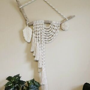 Natural Feather Macramé, Twisted  Wall Hanging