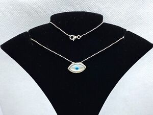 Sterling Silver Mother of Pearl Cubic Zirconia Blue Evil Eye Pendant Necklace